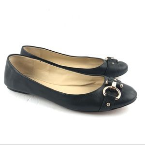 Coach 6.5 Black Leather Alice Ballet Flats